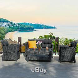 4-Piece Patio Rattan Wicker Conversation Furniture Set Soft Cushion Chairs Table