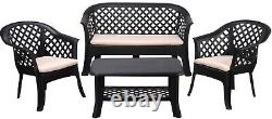 4 Piece Rattan Garden Table & Chairs With Cushions Patio Set Weather Resistant