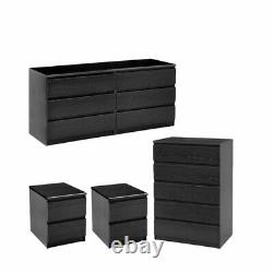 4 Piece Set with 6 Drawer Dresser 5 Drawer Chest and Two Nightstands in Black
