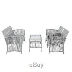 4 Pieces Outdoor Furniture Rattan Chair &Table Patio Set Outdoor Sofa for Garden