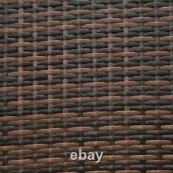 4 Pieces Outdoor Patio Lawn Sofa Set Rattan Wicker Furniture Table Cushion Brown