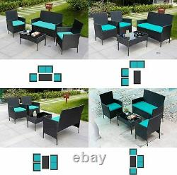 4 Pieces Wicker Rattan Set Patio Furniture Set of 4 Pcs Rattan Sofas
