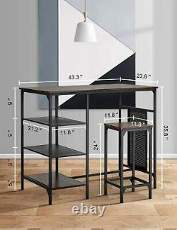 5 Piece Dining Bar Table Set Counter Height with 4 Pub Stools 3 Storage Shelves