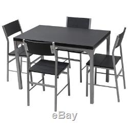 5 Piece Dining Set Table & 4 Chairs Wood Metal Kitchen Breakfast Furniture Black