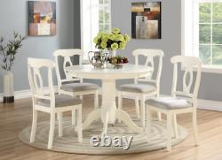 5 Piece Dining Table Set 4 Chairs Round Table Wood Kitchen Breakfast Furniture