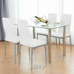 5 Piece Dining Table Set 4 Chairs White Glass Metal Kitchen Furniture