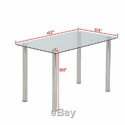 5 Piece Dining Table Set For 4 Chairs Glass Metal Kitchen Breakfast Furniture