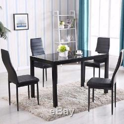 5 Piece Dining Table Set For 4 Chairs Metal Glass Kitchen Furniture Black