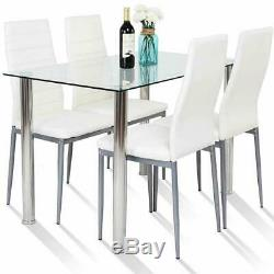 5 Piece Dining Table Set Glass Steel with4 Chairs Kitchen Room Breakfast Furniture