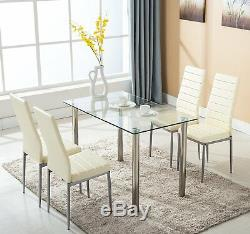 5 Piece Dining Table Set White Glass and 4 Chairs Faux Leather Kitchen Furniture
