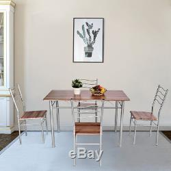 5 Piece Dining Table Set Wood Metal Kitchen Breakfast Furniture with4 Chair Walnut