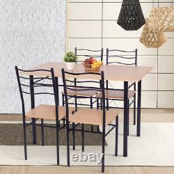 5 Piece Dining Table Set with 4 Chairs Wood Metal Kitchen Breakfast Furniture