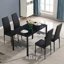 5 Piece Dining Table Sets Glass Metal 4 PU Leather Chairs Kitchen Room Furniture