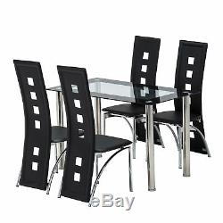 5 Piece Glass White Dining Table Set 4 Chairs Room Kitchen Breakfast Furniture