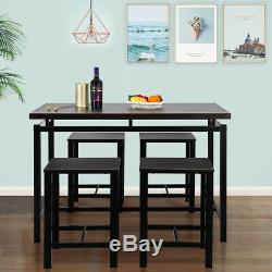5-Piece Industrial Vintange Dining Set 4 Chairs Table Kitchen Furniture Wooden
