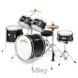5-Piece Junior Drum Set with Brass Cymbals Children Kid Starter Kit