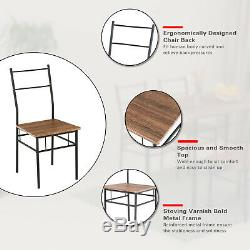 5 Piece Metal Dining Table Set With 4 Chairs Wood Top Dining Room Furniture Brown