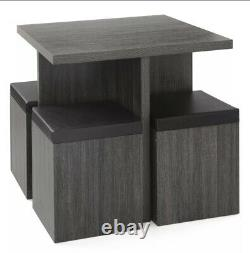 5 Piece Modern Dining Set With Storage Ottoman Stools Functional Kitchen Table