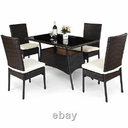 5 Piece Outdoor Patio Furniture Rattan Dining Table Cushioned Chairs Set