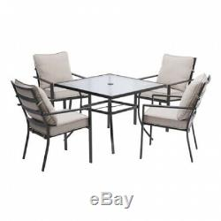 5-Piece Patio Furniture Dining Set Table and Chair Sets 4 Chairs Gray Cushions
