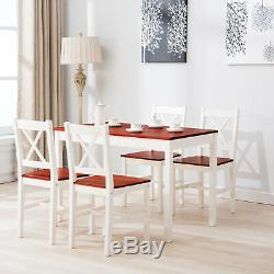 5 Piece Pine Wood Dining Table Set with4 Chairs Dining Room Kitchen Furniture