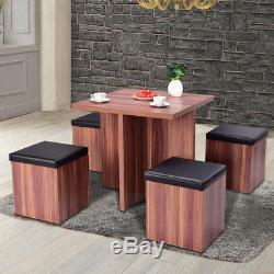 5 Piece Wood Dining Table Set Kitchen Dinette Table Set Storage Ottoman Stool