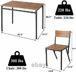 5-Piece Wooden Metal Dining Table Set Industrial Kitchen Table and Chairs
