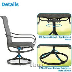 5 Pieces Patio Table Chairs Sets Outdoor Rocker Swivel Dining Chair Square Table