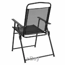 6 Piece Black Patio Set with Table, Umbrella and 4 Folding Chairs