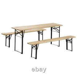 6 ft 3 Piece Portable Camping Table Set for Backyard, Parties and Barbecues