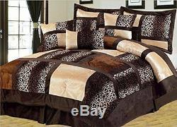 7 Piece Comforter Set Leopard Cozy Faux Fur Microsuede Microfiber Bed In A Bag