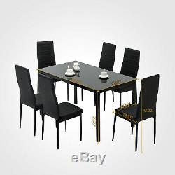 7 Piece Dining Table Set 6 Chairs Glass Metal Kitchen Room Furniture Black