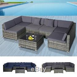 7 Piece Set Rattan Sofa Luxury Modular Conversation Outdoor Furniture
