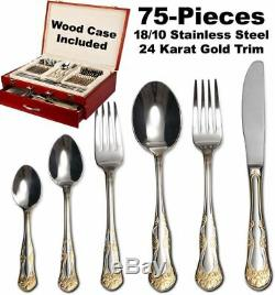 75 Piece Venezia Siena Silverware Set & Wood Chest 18/10 Gold Plated Flatware