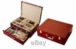 75 Piece Venezia Silverware Set for 12 and Wood Storage Chest 18/10 Flatware