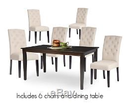 7pc Espresso Dining Room Kitchen Set Table 6 Beige Button Parson Chairs 7 piece