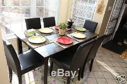 7pc Espresso Dining Room Kitchen Set Table 6 Brown Leather Parson Chairs 7 piece