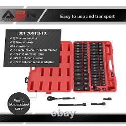 ABN 65 Piece Impact Socket Set 1/2in Drive Shallow and Deep Socket Set