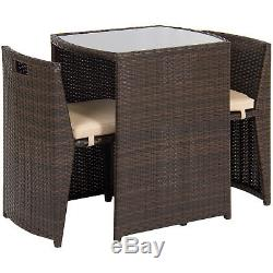 BCP 3-Piece Wicker Bistro Set with Glass Top Table Brown