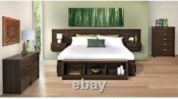 Bedroom Set 1-Piece King Size Wall Mounted in Espresso with Built-In Storage