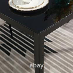 Black 5 Piece Dining Table Sets Glass Metal 4 PU Leather Chair Kitchen Furniture