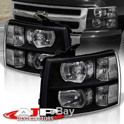 Black Clear Replacement Headlights Lamps For 07-13 Chevy Silverado 1500 2500HD