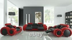 Black and Red 3 Piece Living Room Franco Italian Design Set w Footrest 8 Shape