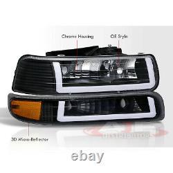 Blk Amber Corner LED DRL Bumper Head Lights Lamps LH +RH For 1999-2002 Silverado