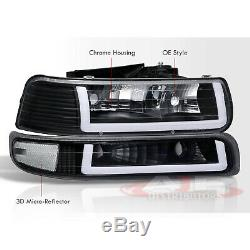 Blk Clear Corner LED DRL Bumper Head Lights Lamps LH +RH For 1999-2002 Silverado