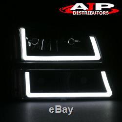 Blk Clear Corner LED DRL Bumper Head Lights Lamps LH +RH For 2003-2007 Silverado