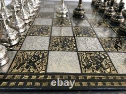 Brass Metal Chess Pieces Set & Board 14 Hand Carved With Storage Box Soviet