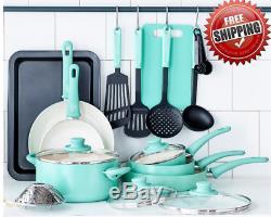 COOKWARE SET 18 Piece Ceramic Non-Stick Kitchen Pots Pans Utensils Turquoise