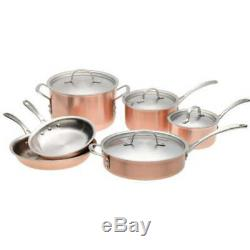 Calphalon T10 Tri-Ply Copper 10 Piece Set, Brown