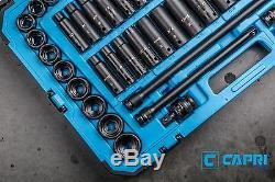 Capri Tools 1/2-Inch Drive Master Impact Socket Set, CrMo, 61-Piece